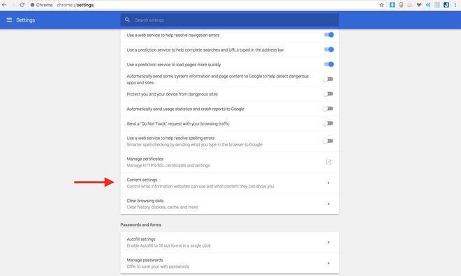 Chọn Content Settings rồi vào Notifications