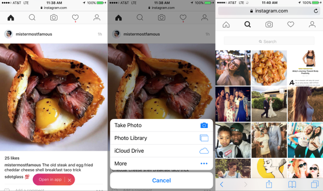 Giao diện mobile web của Instagram